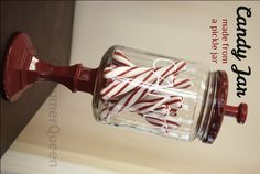 Make a trendy candy jar from an old pickle jar…seriously cute! #DIY