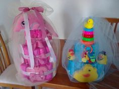 dolphin and duck diaper cakes