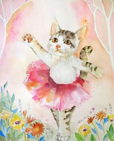 Original Cat Cat, Pink Tutu, Ballet Art, Nursery Art from asho on Etsy. Watercolor Cat, Watercolor Paintings, Tattoo Watercolor, Ballet Illustration, C Is For Cat, Ballet Art, Cat Posters, Vintage Cat, Crazy Cats