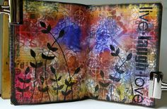 Stained Glass Background - Marjie Kemper sharing a spread in her art journal using Daniella Woolf's with Flower Amphora Stencil...