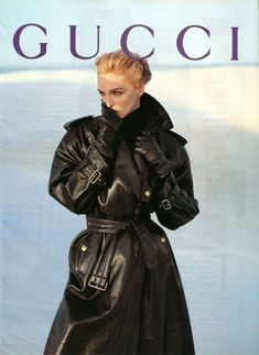 Simonetta Gianfelici for Gucci Fall/Wint 1993 Long Leather Coat, Leather Trench Coat, Leather Gloves, Black Leather, Leather Jackets, Punk Fashion, Leather Fashion, Trent Coat, Cool Coats