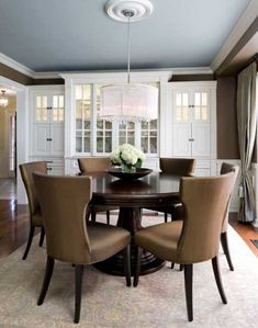 **Ceiling: Blue **Medallion: rustic **Trim: white white **Walls: Pecan Sandy by Behr **Floors: walnut