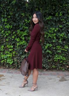 faff1ef303904 Burgundy Who What Wear Tie Neck Dress for today's Sunday Best! Steve Madden  Taupe ankle
