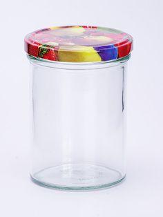 Sturzglas 440ml mit Früchtedekordeckel 82mm Ideal zum Befüllen mit Obst, Marmelade, Gelee  Höhe: 114,5mm; Durchmesser: 77,3mm Sterilisationsfester Deckel bis 120 Grad Deckel nicht für ölhaltige Füllgüter geeignet Qualitätsware aus Deutschland