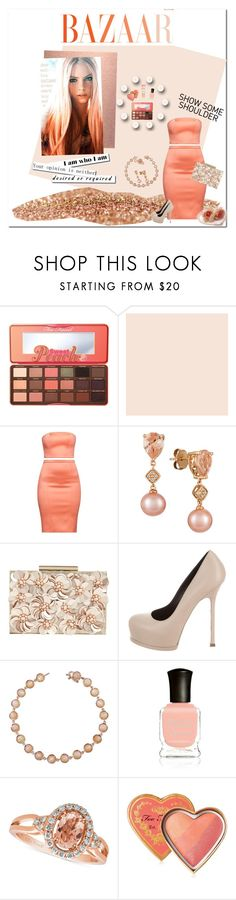 """""""Peachy Keen"""" by cathyvillalobos ❤ liked on Polyvore featuring Too Faced Cosmetics, Home Decorators Collection, LE VIAN, Phase Eight, Yves Saint Laurent, Irene Neuwirth and Deborah Lippmann"""