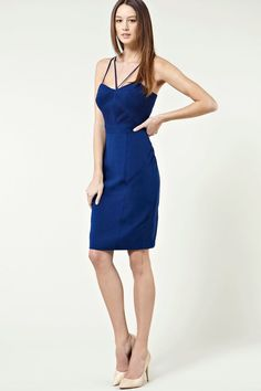 Women's Warehouse Ruched bodice dress, Blue