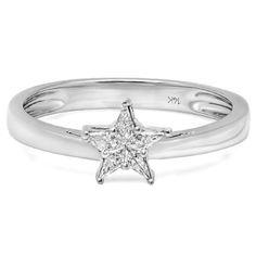 0.20 Carat (ctw) 14k White Gold Noble Cut Star Shaped 5 Stone Diamond Ladies Bridal Ring Engagement (Size 7)