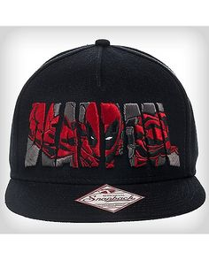 bfe8f553ead Deadpool Embroidery Snapback Hat - Snap on this Deadpool Embroidery Snapback  Hat. With flatbill styling and Deadpool logo