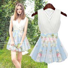2014 Summer Women Slim Color Block Patchwork Faux 2 Piece Saias Roupas Femininas Cross V-neck Sleeveless Vestidos Gauze Dresses $19.68