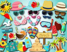 Printable Summer Fun Party Photo Booth Props Summer Beach