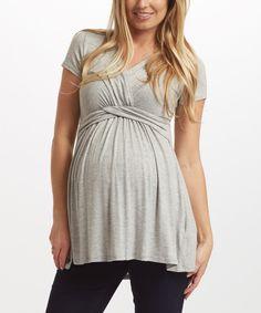 Another great find on #zulily! PinkBlush Gray Maternity/Nursing Drape Top by PinkBlush Maternity #zulilyfinds