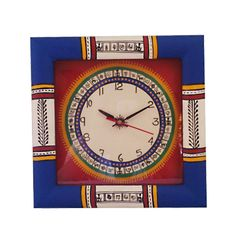 Warli Hand Painted Wooden Clock (Blue & Red)