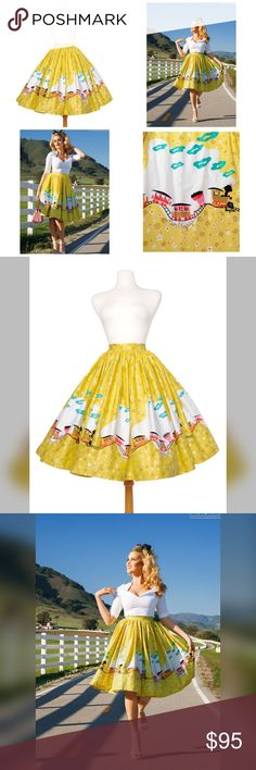 "PinupGirl Clothing's Mary Blair Yellow Train Skirt Never got around to wearing this, so I'm selling! - PinupGirl Clothing Mary Blair Jenny skirt in yellow train border print. Full skirt silhouette just like the 50s & 60s. Cotton sateen. Wide waistband and back zipper for a nipped in waist. Waist measurements 28""-29"", gives no stretch so mind your measurements. I'm pretty FIRM on price but feel free to send a REASONABLE offer, if you've shopped w/me before I'm more inclined to work with ya…"