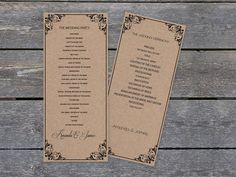 Kraft Paper Wedding, Printable Wedding Programs, Program Template, Ceremony Programs, Diy Invitations, Tea Length, Flourish, Our Wedding, Printables