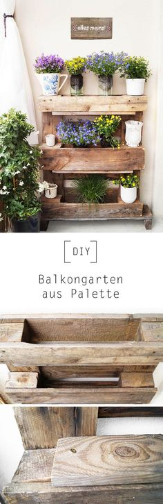 Balcony garden from Palette by Only still - D . Balcony garden from palette By Only – DIY Instructions Balcony Planters, Balcony Garden, Potager Palettes, Potager Bio, Apartment Balconies, Ideias Diy, Pallets Garden, Wooden Pallets, Outdoor Gardens