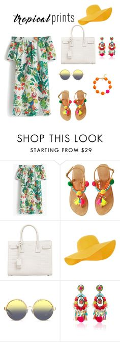 """Untitled #44"" by erwinkirkwood on Polyvore featuring J.Crew, Yves Saint Laurent, Accessorize, Matthew Williamson, Ranjana Khan, tropicalprints and hottropics"