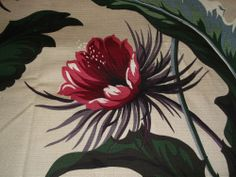 """Hawaiian Fabric Floral & Foliage  Large on Beige Background Material 76"""" by 57"""" http://cgi.ebay.com/ws/eBayISAPI.dll?ViewItem&item=111314087608"""