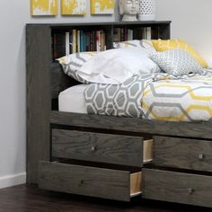"Bookcase Headboard (46"" High), Full / Queen, Oak"