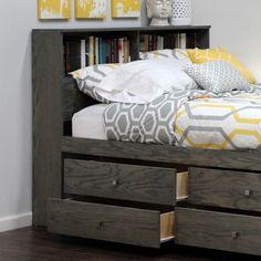 "Bookcase Headboard (46"" High), Full / Queen, Oak"