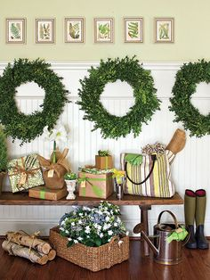 boxwood wreath hung from molding