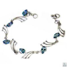 Blue Topaz Bracelet 925 sterling silver Bracelet Blue Topaz Silver Bracelet friendship bracelet Blue Bracelet Topaz Gemstone Bracelet by RiyoGems