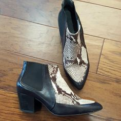 Topshop black leather and python ankle boots Excellent condition Topshop Shoes Ankle Boots & Booties