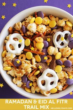 One of the best things about having colours associated with a holiday is that you can put together festive ideas so easily. A trail mix is always a crowd pleaser at any party so for a Ramadan or Eid al Fitr party, make a purple and gold themed trail mix! (For more info on Ramadan …