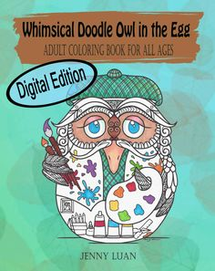 Digital Edition Whimsical Doodle Owl in the egg by JennyLuanArt
