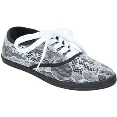Hot Topic White & Black Lace-Up Sneaker ($16) ❤ liked on Polyvore featuring shoes, sneakers, white black shoes, laced up shoes, black and white shoes, canvas sneakers and lace up shoes
