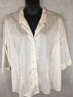 Avenue Button Down 3/4 Sleeve White Striped Texture Blouse SZ 30/32 Classic Fit #Avenue #ButtonDownShirt #Career