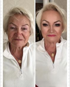 Transformation - Empfindliche Haut - Make up only - Makeup Over 50, Old Makeup, Skin Makeup, Beauty Secrets, Beauty Hacks, Jessica Clement, Makeup For Older Women, Makeup Before And After, Makeup Makeover