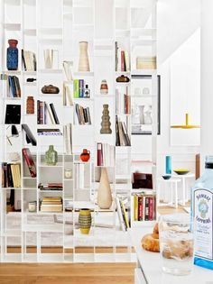 See Through Bookshelf   Eclectic Bookshelf   Home Library   White Living Room   Room Dividers   Partitions