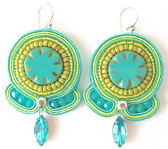 Soutache Earring Turquoise Earring Embroidered by PureBlissJewelry