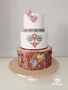 Folk wedding cake - cake by MOLI Cakes Heart Wedding Cakes, Wedding Cake Fresh Flowers, Amazing Wedding Cakes, Amazing Cakes, Pretty Cakes, Cute Cakes, Beautiful Cakes, Polish Wedding, Traditional Wedding Cake