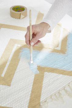 Teppich bemalen in Zickzack-Muster