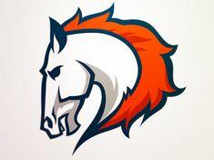 Broncos by Aurélien Mahaut Mascot Design, Logo Design, Logo Caballo, Tribal Logo, Broncos Pictures, Sports Art, Sports Logos, Mustang Logo, Denver Broncos Logo