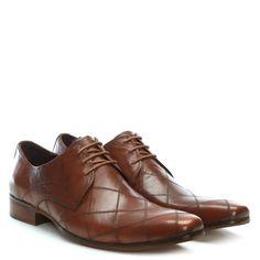 40f7be254 Gucinari Tan Leather Diamond Stitch Lace Up Shoe