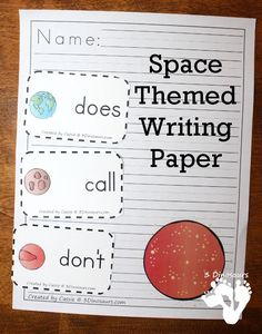 Free Outer Space Fun Planet Themed Writing Paper - 13 different images with two types of lines - 3Dinosaurs.com