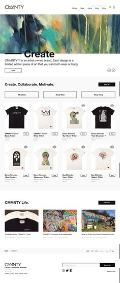 CMMNTY™ is an artist owned brand selling unique T-Shirts and art prints. Each design is a limited edition piece of art that you can both wear or hang. Best Web Design, Flat Design, Art Pieces, Layout, Art Prints, Artist, Color Black, Fashion, Art Impressions