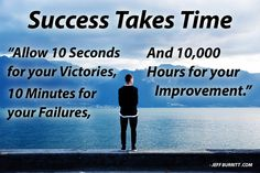 Success Takes Time.  Allow 10 seconds for your victories, 10 minutes for your failures, and 10,000 hours for your improvement.