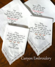 Embroidered Wedding Handkerchiefs Gifts For Mon And Dad Pas Of The Bride Groom Set Four Handkerchief Canyon Embroidery