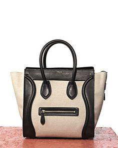 Celine Luggage Mini (Spring 2012 collection) -I always love Celine black & white bags Celine Mini Luggage, Celine Tote, It Bag, Burberry Handbags, Louis Vuitton Handbags, Boston Bag, Little Bag, Shoe Collection, Spring Collection