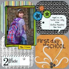 First Day of School Digital Scrapbook Layout from Creative Memories  http://www.creativememories.com