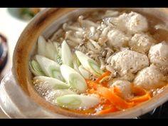 Tori-tsukune nabe (Hotpot with chicken meatballs)