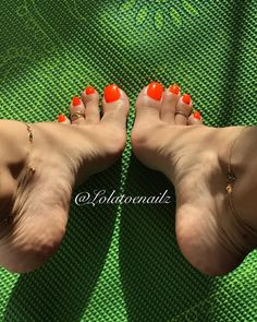 These feet are made for walking, and that's just what they'll do... One of these days, these feet are gonna walk all over you   #orangenails #toering #anklebracelet #ilovemyfeet #perfectfeet #sexyarches #arches #toes #prettytoes #feetstagram