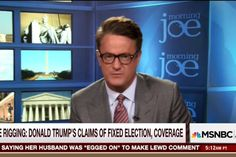 Joe Scarborough implodes By Peter Daou | OCTOBER 18, 2016 Morning Joe has been a reliable bastion of Clinton-bashing in 2016, situated squarely on the wrong side of history. As Election Day approaches, Joe Scarborough is falling apart over Hillary Clinton's successful campaign. He joins Donald Trump, Rudy Giuliani, Chris Christie, and other Republican men who are flailing helplessly as their reputations implode in the face of Clinton's indomitability.