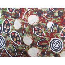 This indigenous artwork print cotton fabric is a medium weight, non…. Aboriginal Art, Artwork Prints, Printed Cotton, Fabric Design, Printing On Fabric, Cotton Fabric, Print Fabrics, Christmas Tree, Colours