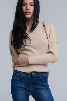 Beige half ribbed sweater