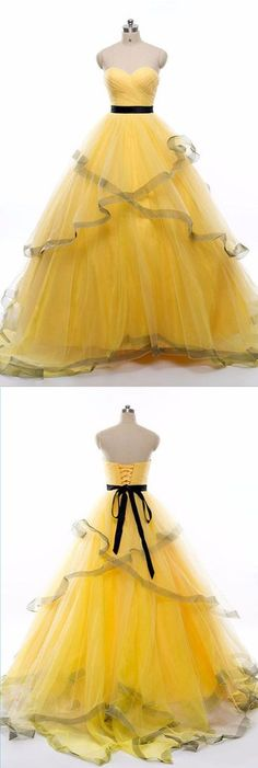 Sweetheart neck yellow tulle long ruffles evening dress, long strapless spring prom dress #prom #dress #promdress #promdresses