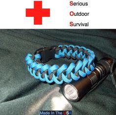 Police Thin Blue Line 550 7 strand paracord bracelet shark bone jaw piranha USA